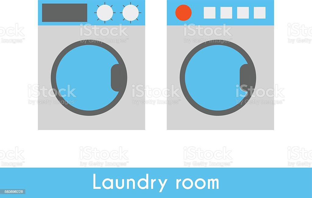 Vector flat washing machine and dryer vector art illustration
