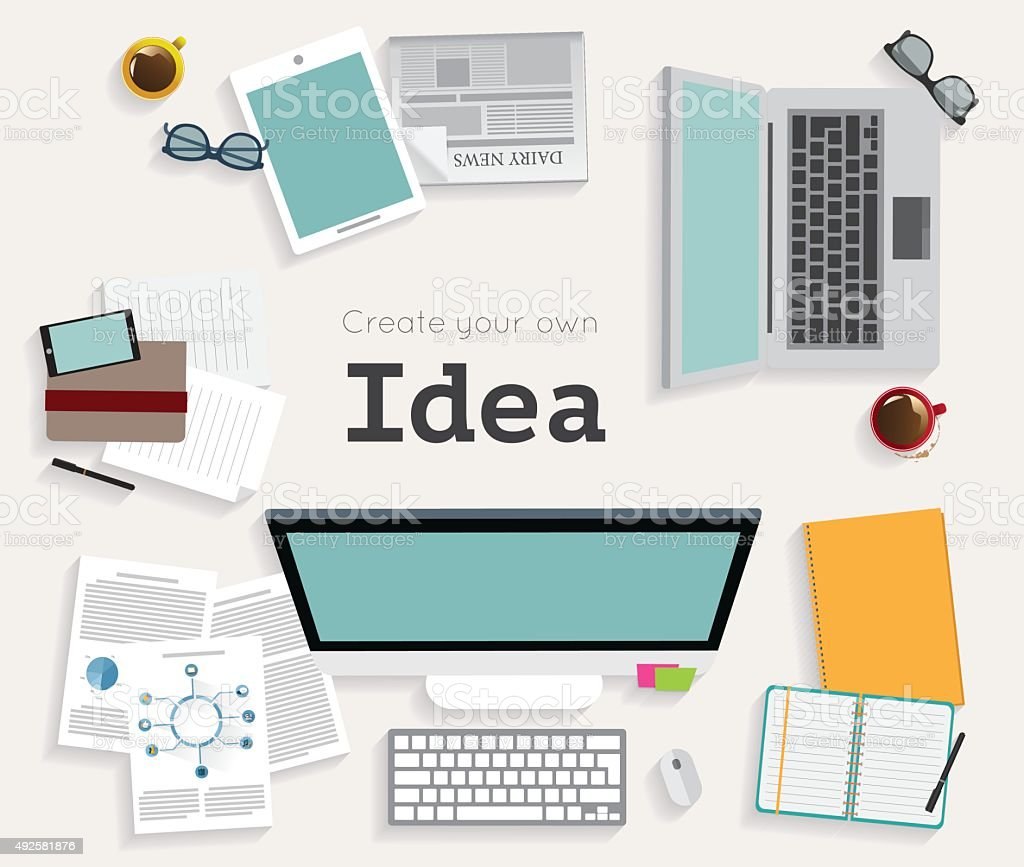 Vector flat workplace of designer with devices illustration vector art illustration
