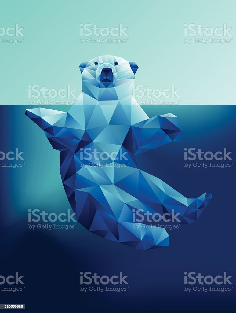 Vector floating polar bear in blue waters polygon geometric vector art illustration
