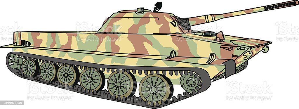 vector floating tank in camouflage coloring vector art illustration