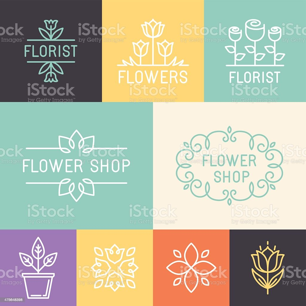 Vector floral and gardening logos vector art illustration
