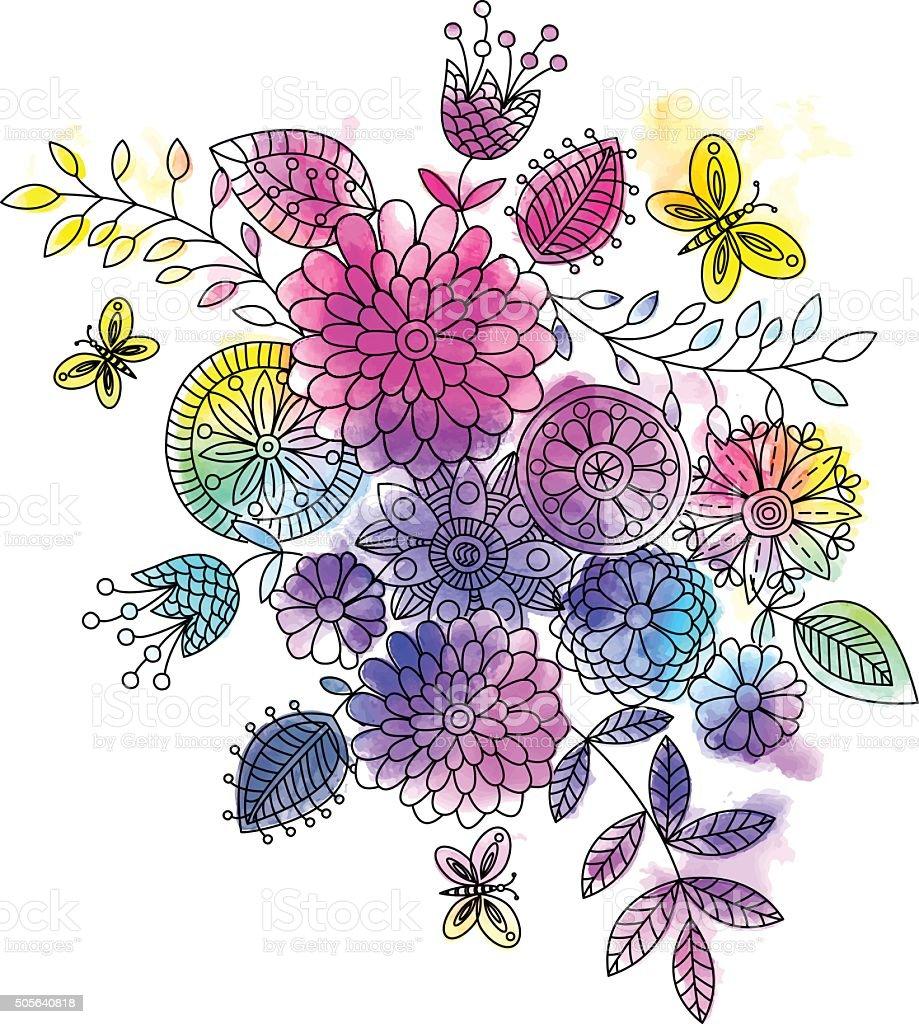 Vector floral background . vector art illustration