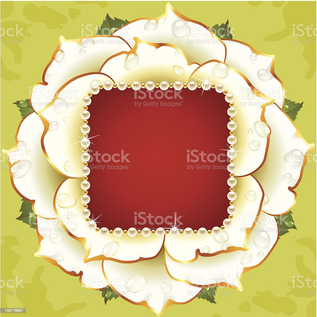 Vector floral background. White rose wedding frame with pearl necklace royalty-free stock vector art