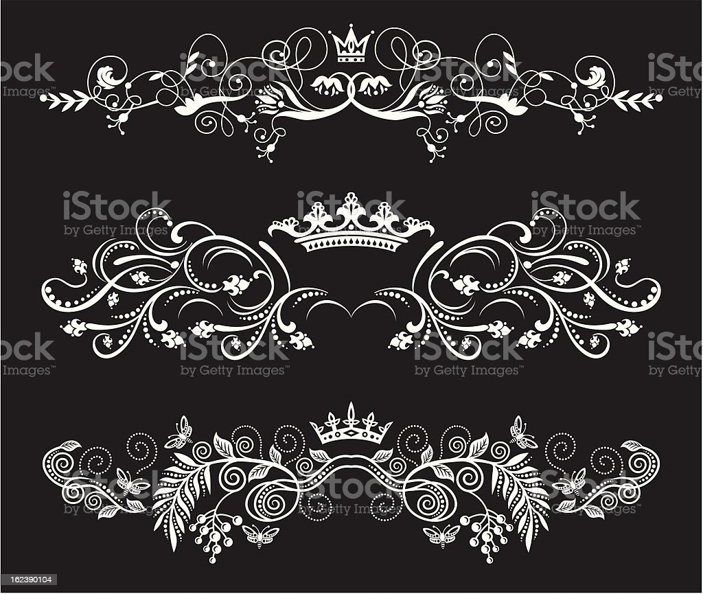 vector floral borders set with crowns royalty-free stock vector art