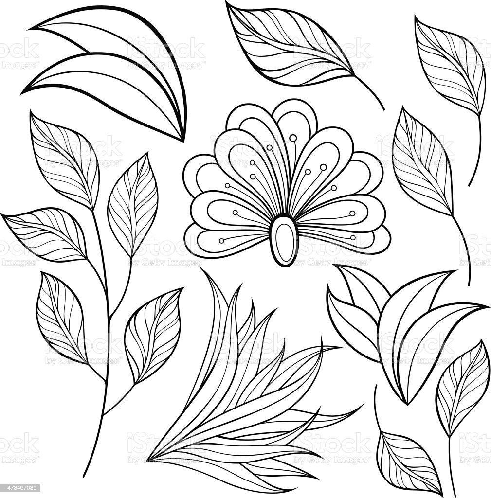 Рисунки цветов листьев на трафаретах