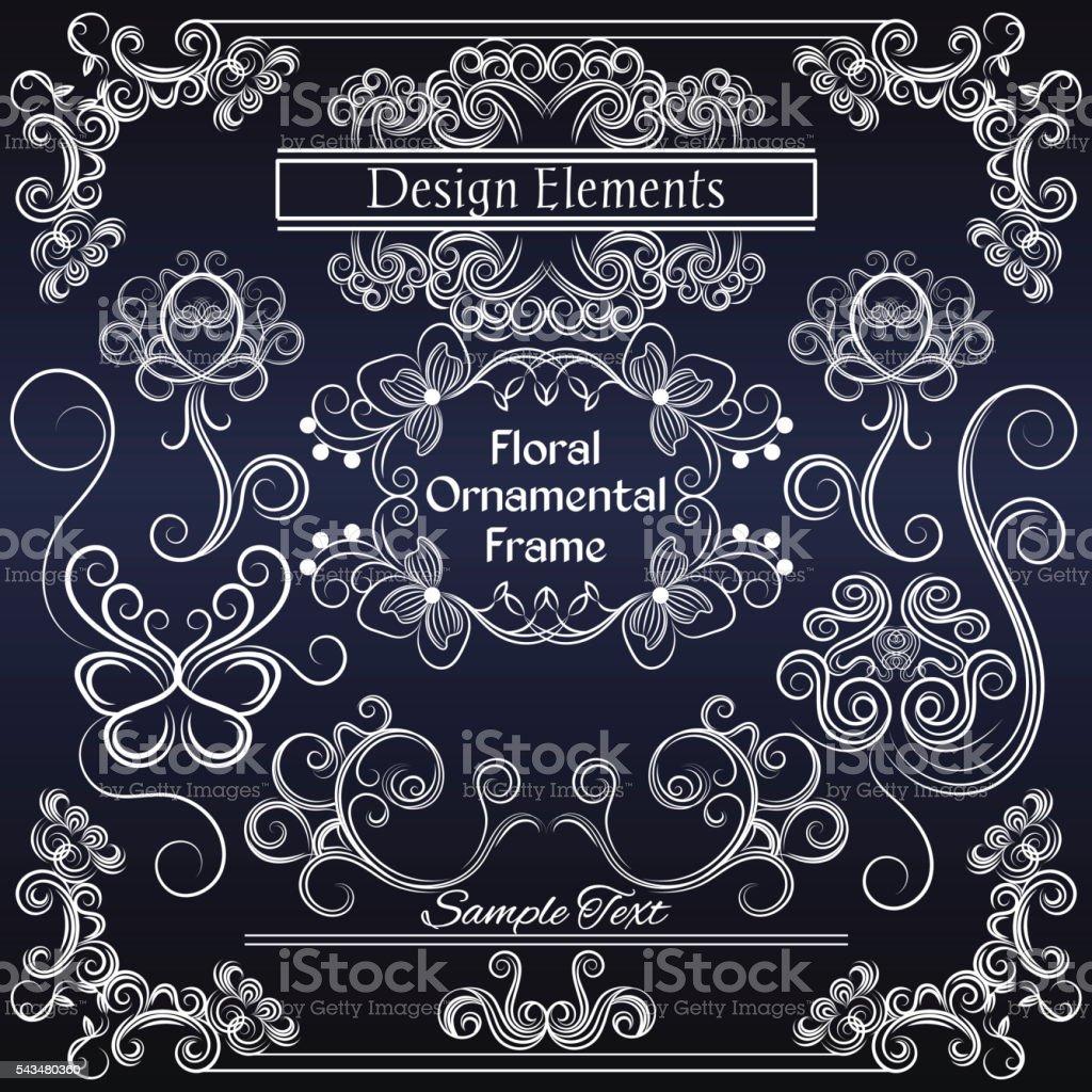 Vector floral design elements on dark blue background vector art illustration
