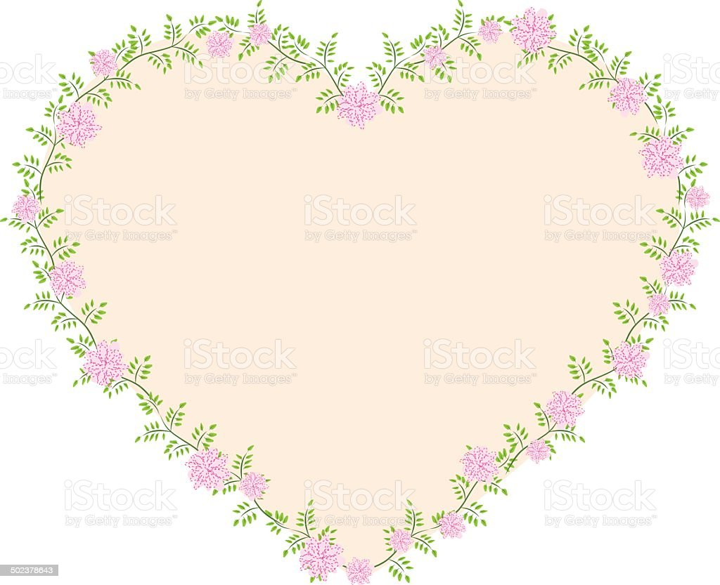 vector floral frame border in heart shape vector art illustration