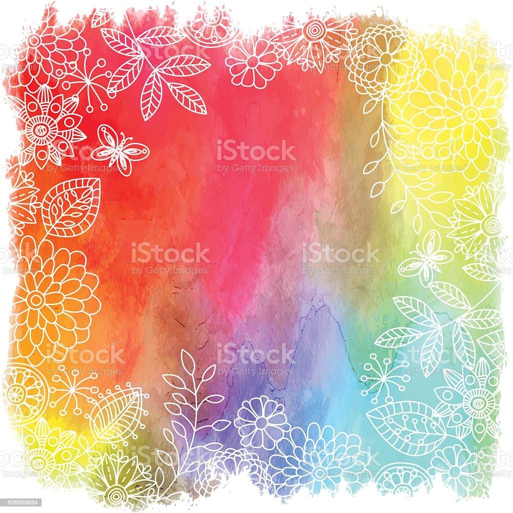 Vector floral frame . vector art illustration