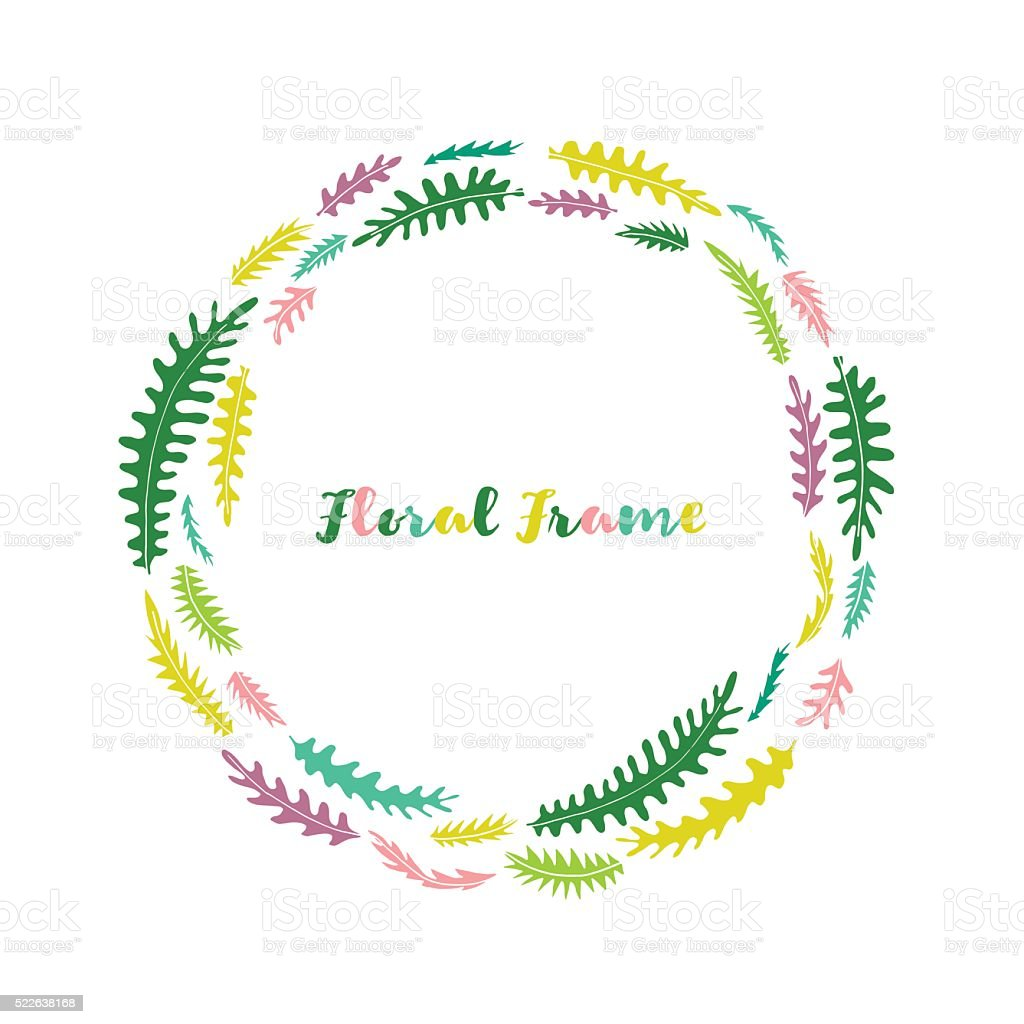 vector floral frame with leaves vector art illustration