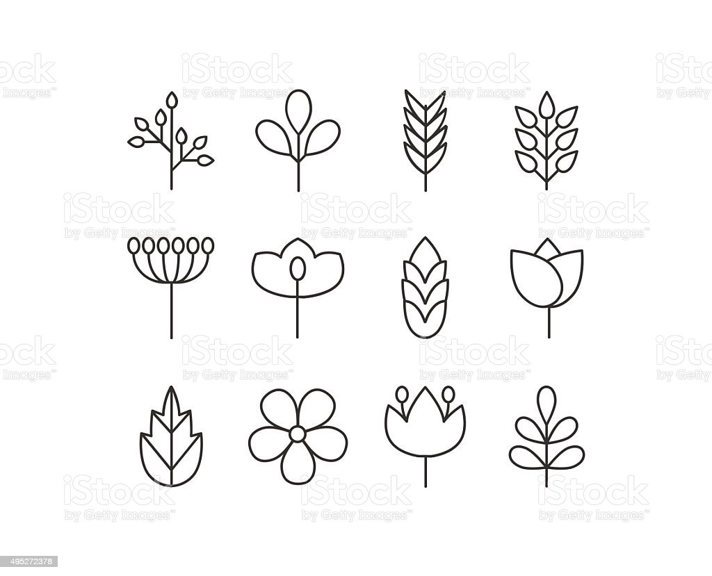 Vector floral icons set vector art illustration