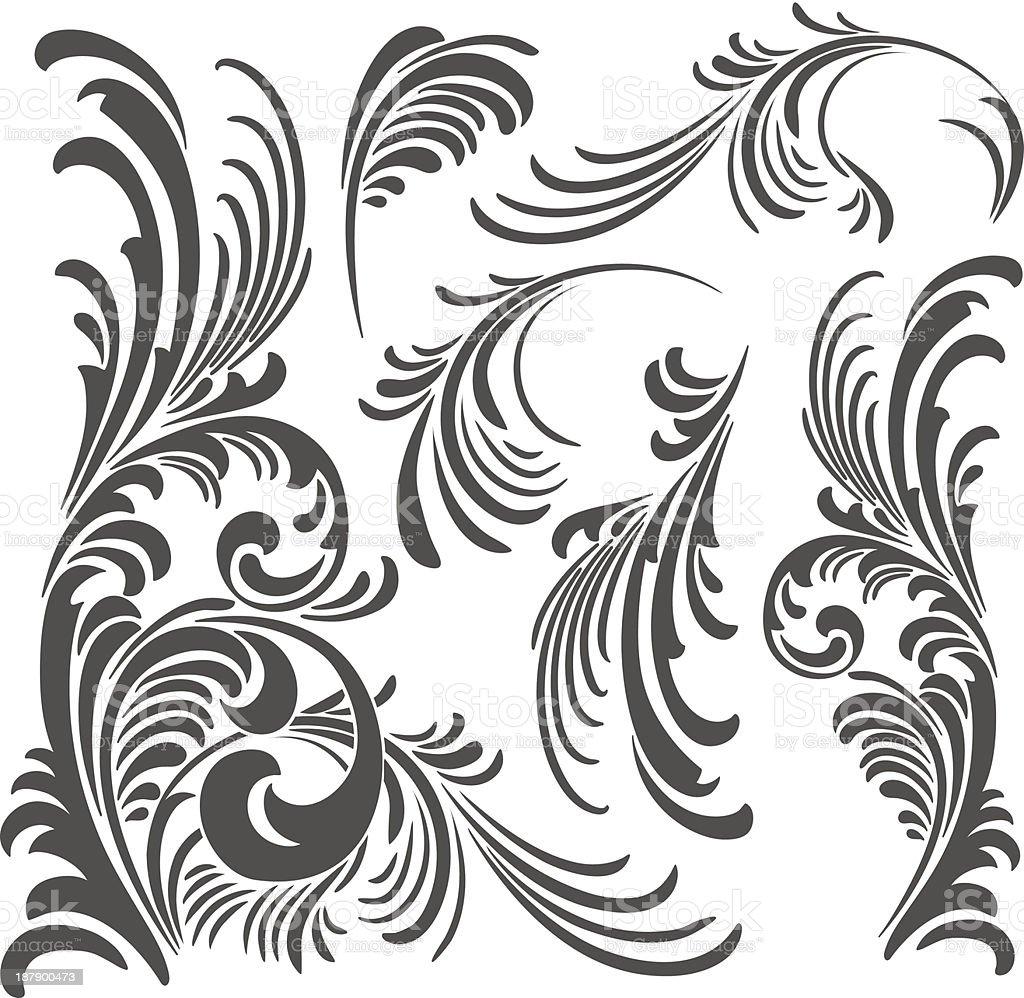 Vetor elementos de ornamento floral pacote vetor e ilustração royalty-free royalty-free