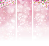 Vector  floral pink bokeh banners.