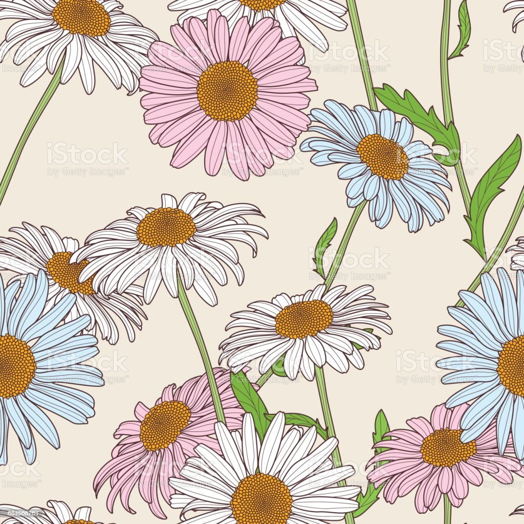 Vector floral seamless pattern. Pastel colors background with hand drawn chamomile flowers. vector art illustration