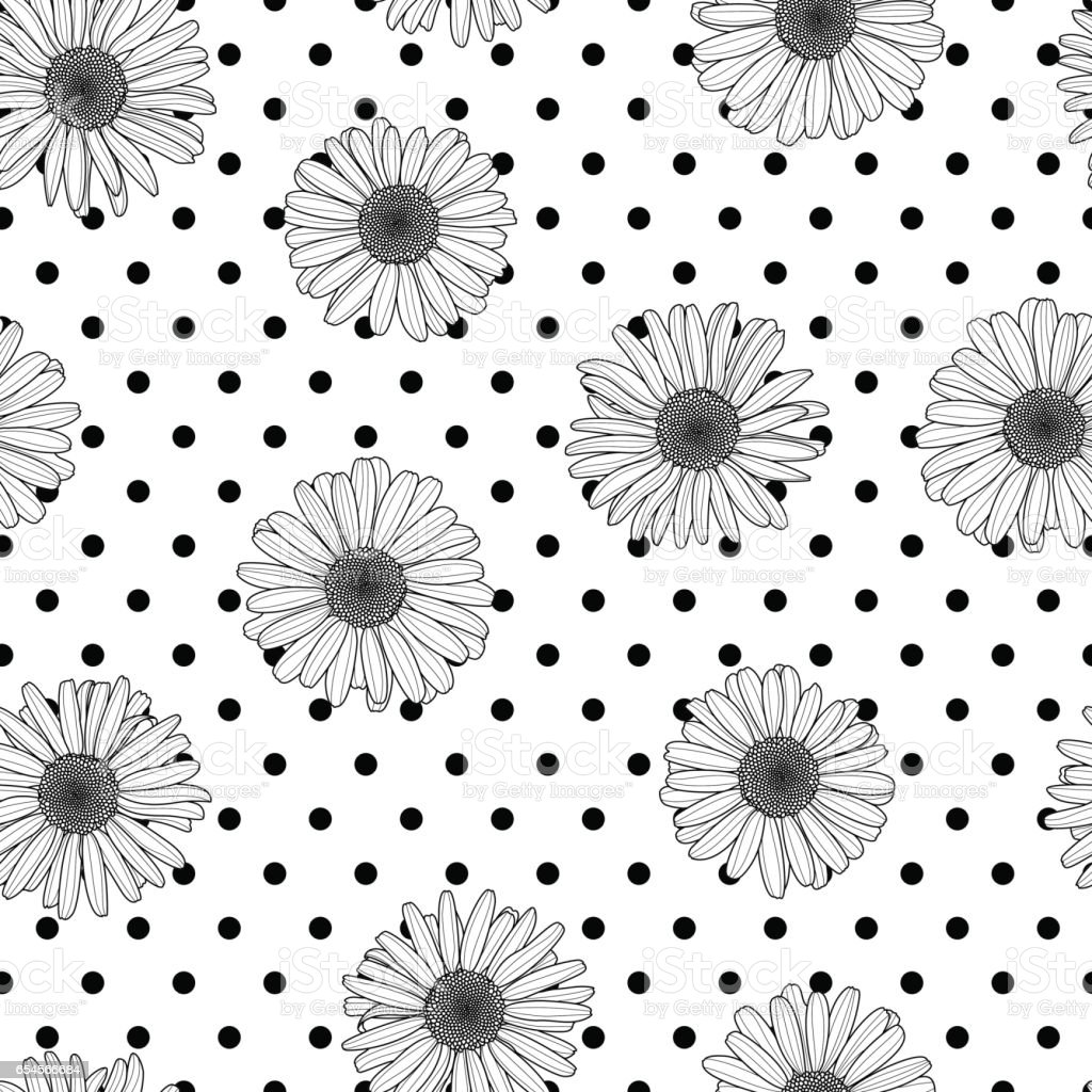 Vector floral seamless polka dot pattern. Black and white background with outline hand drawn chamomile flowers. vector art illustration