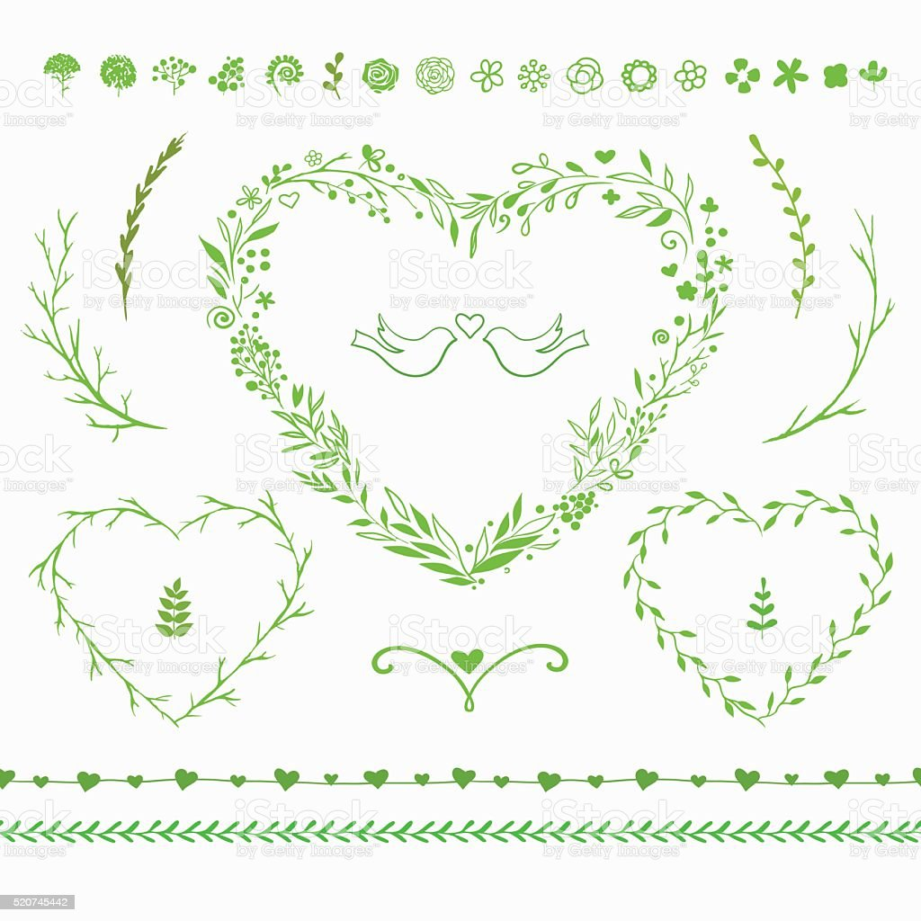 vector floral set for spring decorations vector art illustration