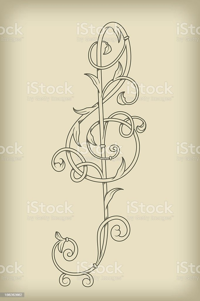 vector floral vintage  G clef royalty-free stock vector art