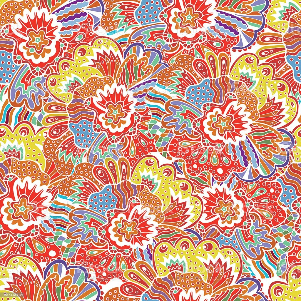 Vector flower pattern. Seamless botanic texture. royalty-free stock vector art