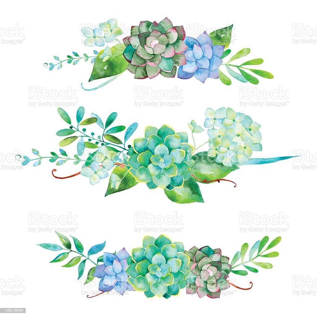Vector flowers set. Colorful floral collection with leaves and flowers vector art illustration