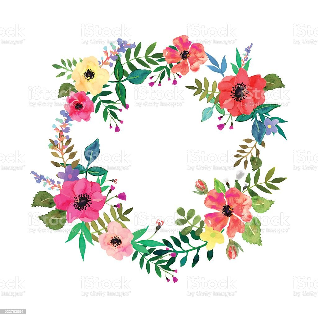 Vector flowers set. Colorful floral collection with leaves and flowers. vector art illustration