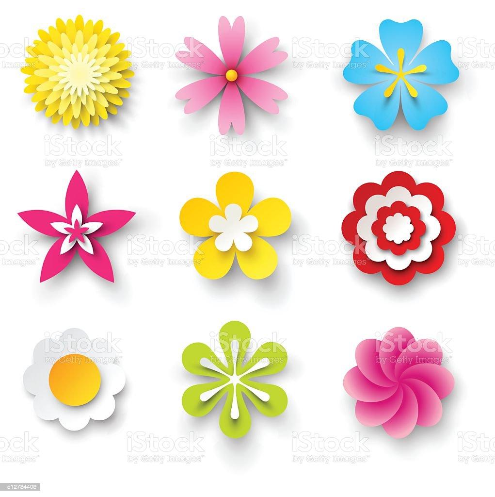 vector flowers set vector art illustration