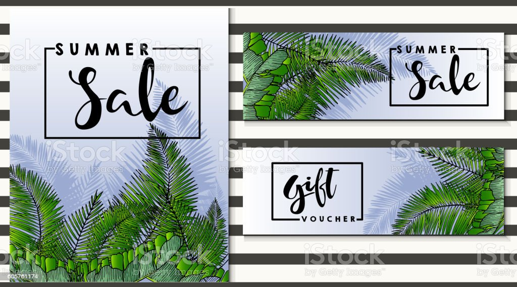 vector flyer for sale and gift voucher. Exotic palm leaves. vector art illustration
