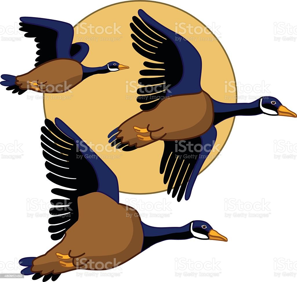 vector flying geese across the moon in color vector art illustration