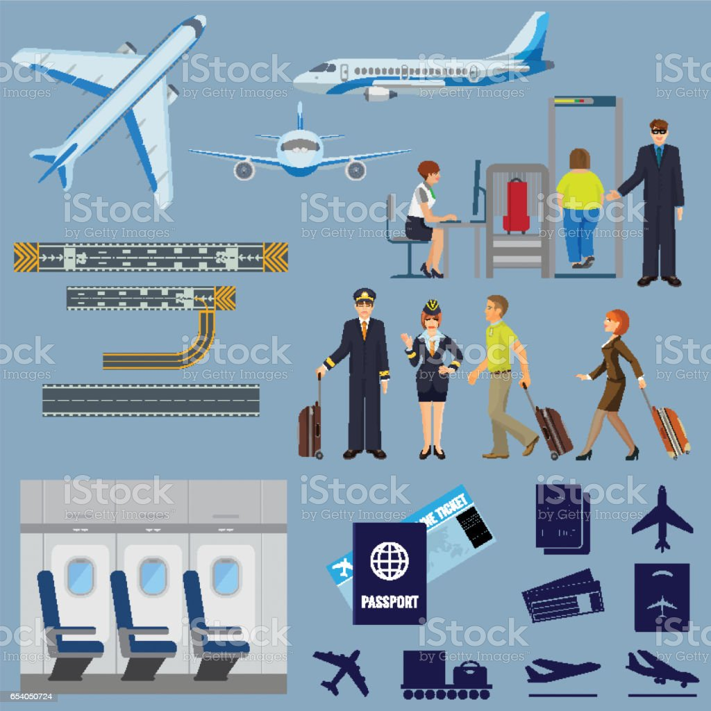 Vector flying passenger aircrafts, plane, check-in, pilot and stewardess vector art illustration