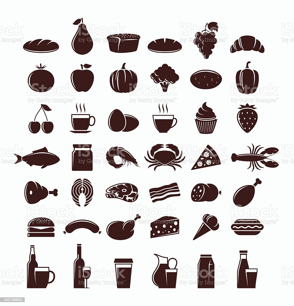 Vector food and drink icons set vector art illustration