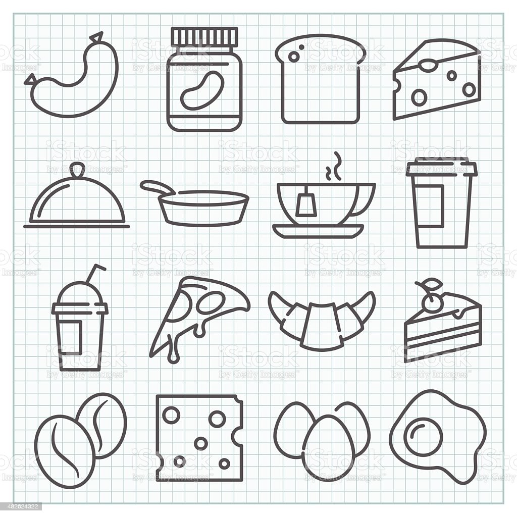 Vector food and drinks icons set vector art illustration