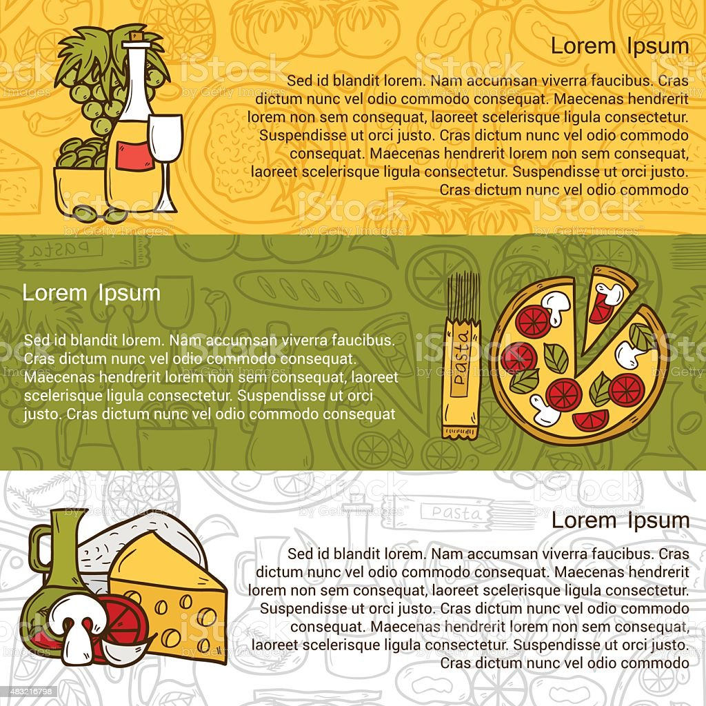 Vector food concept with line background and cartoon objects on vector art illustration