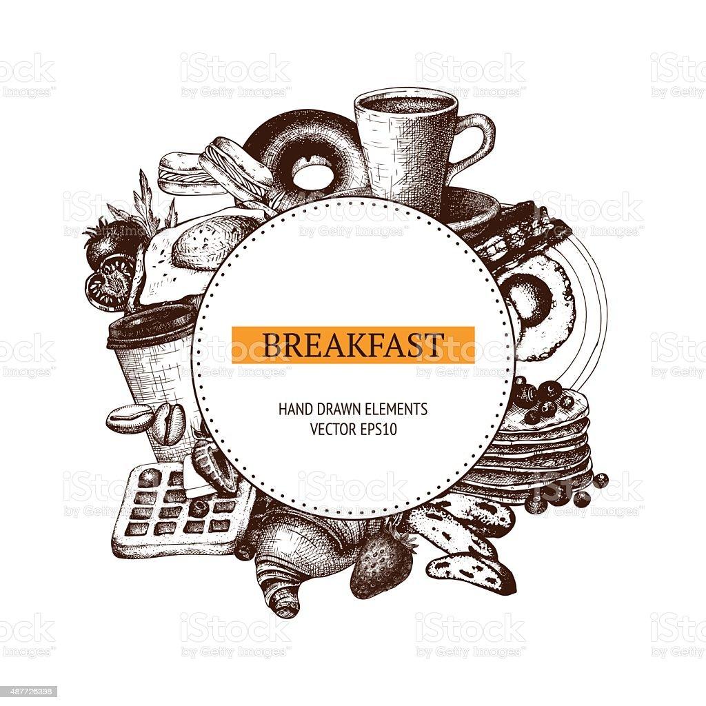 Vector food for breakfast menu. vector art illustration
