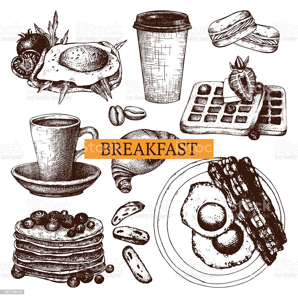 Vector food for breakfast menu. vector art illustration
