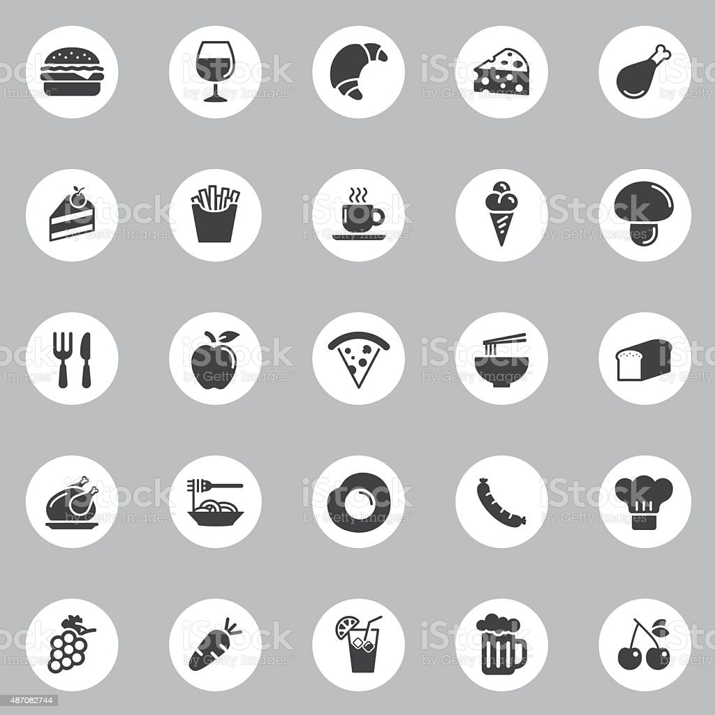 Vector Food Icons - 25 Icons Background vector art illustration