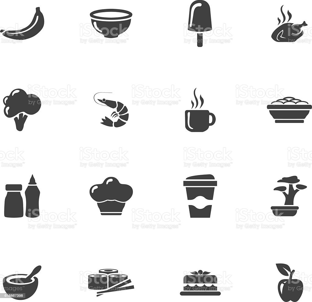 Vector food icons set vector art illustration