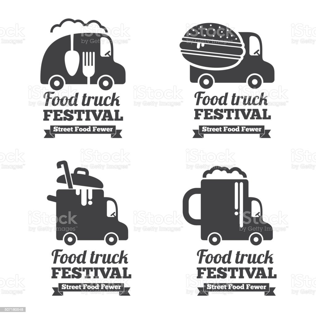 Vector food truck logos, emblems and badges vector art illustration