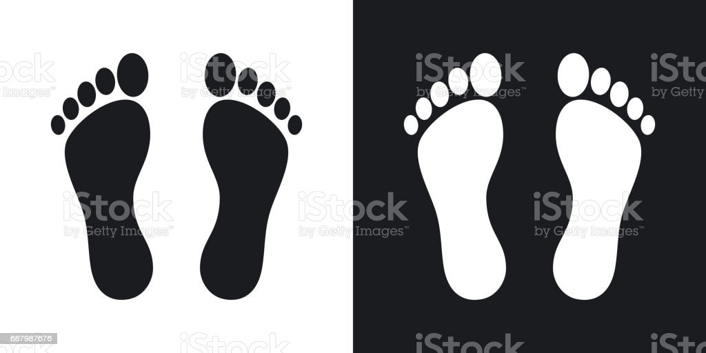 Vector footprints icon. Two-tone version vector art illustration