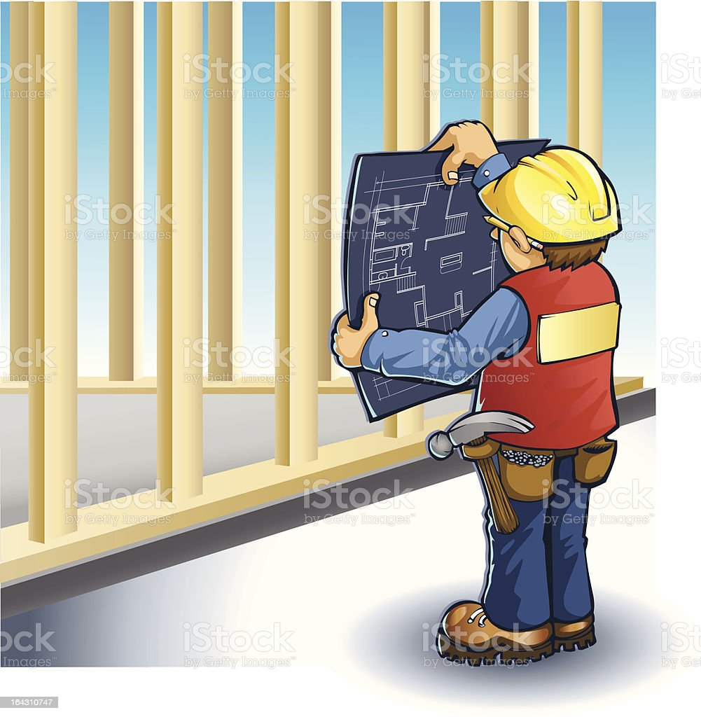 Vector Foreman Reading Plans royalty-free stock vector art