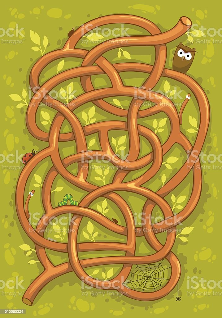 Vector forest cartoon maze for game. vector art illustration