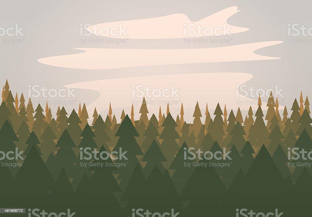 Vector Forest Scene vector art illustration