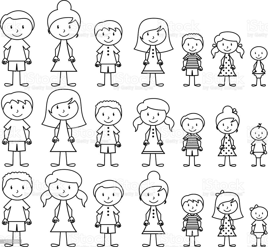 Vector format illustration of cute and diverse stick people vector art illustration