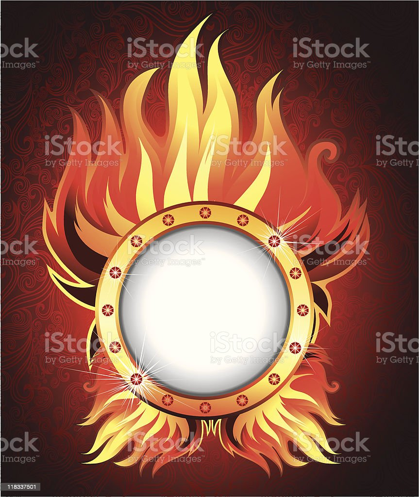 Vector frame background with fire royalty-free stock vector art