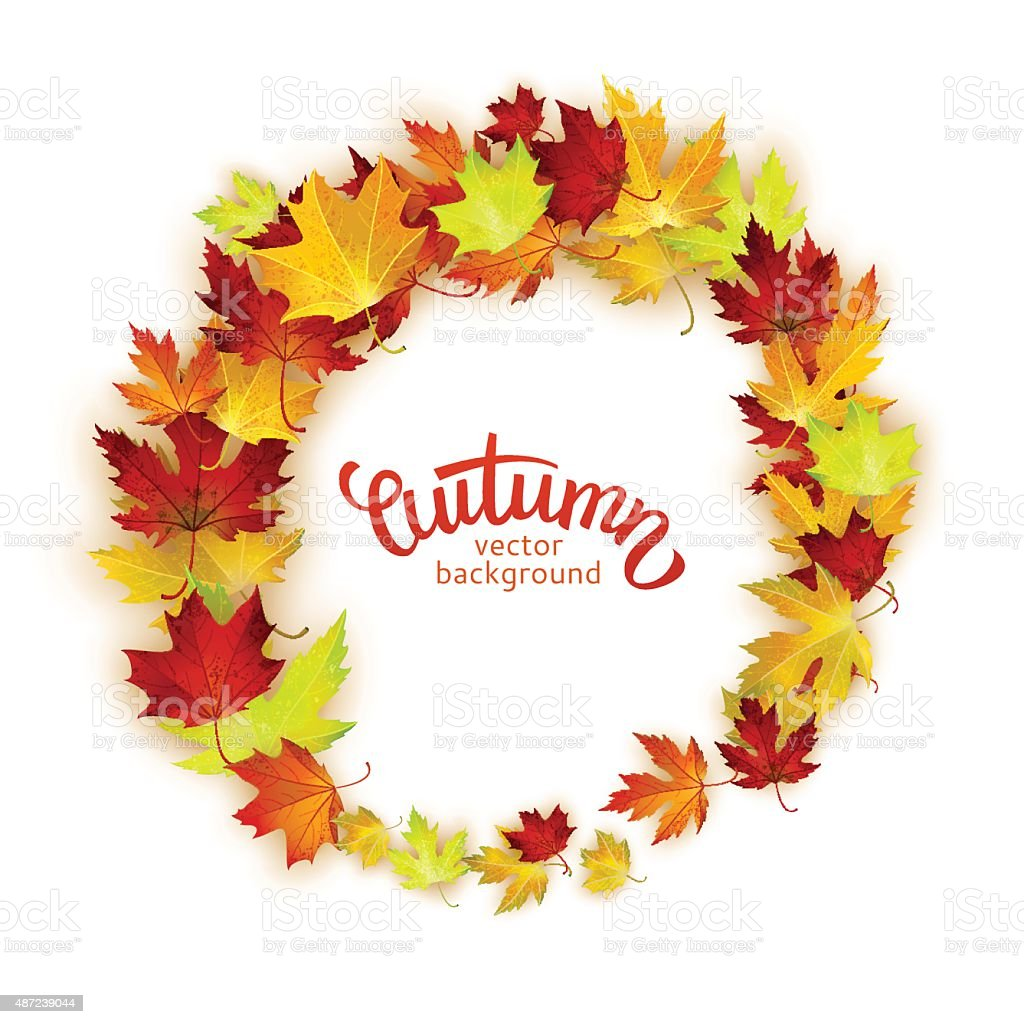 Vector frame with colorful autumn leaves, card template, natural backdrop vector art illustration