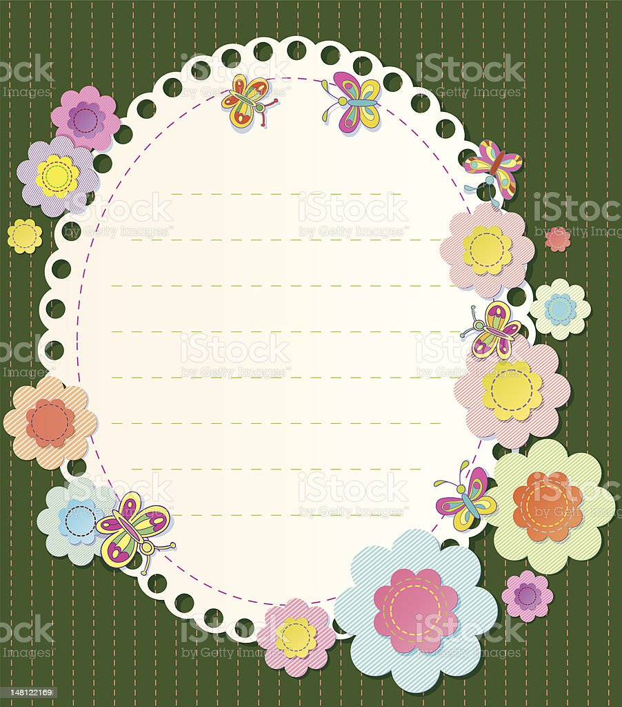 vector frame with elements of embroidery. Textile flowers and butterflies royalty-free stock vector art