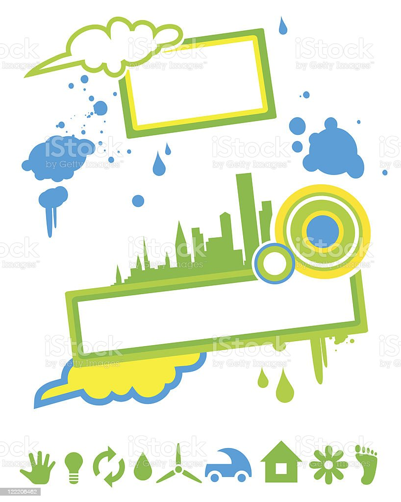 Vector frame with green cityscape vector art illustration