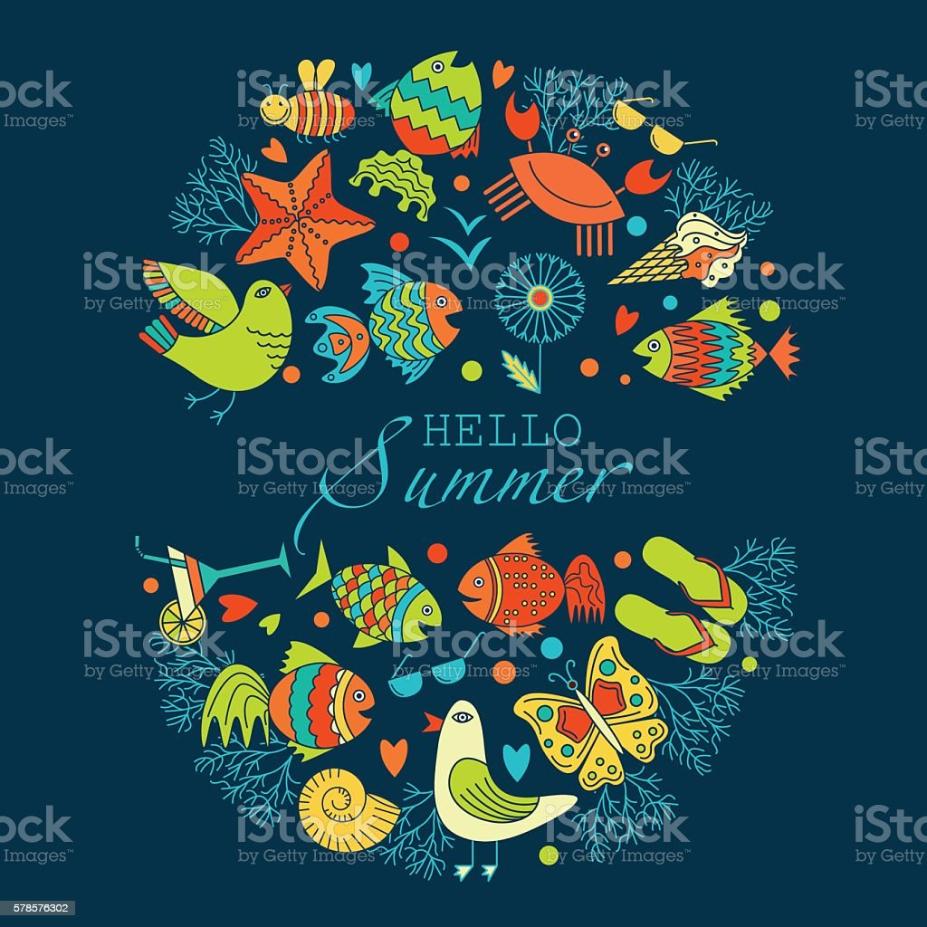 vector frame with summer pictures royalty-free stock vector art