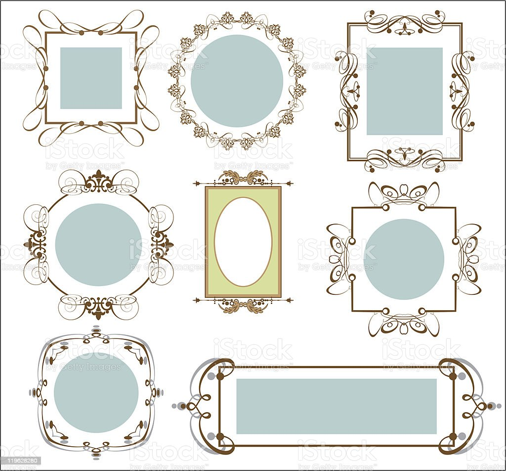 Vector Frames Vintage set 7 royalty-free stock vector art