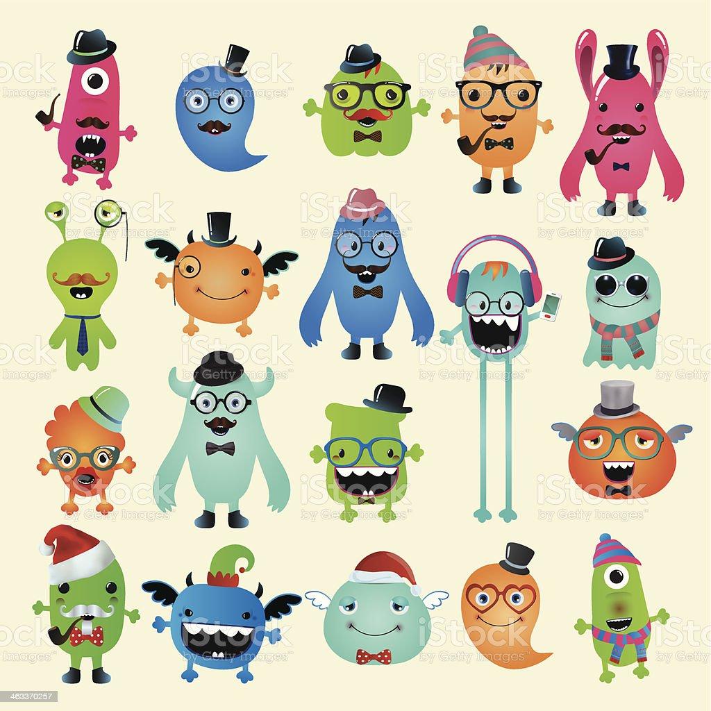 Vector Freaky Hipster Monsters Set vector art illustration