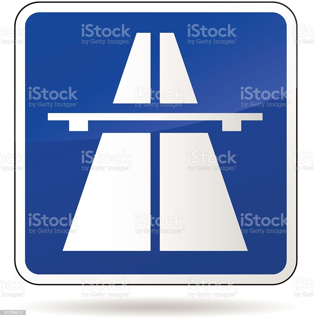 Vector freeway blue sign vector art illustration