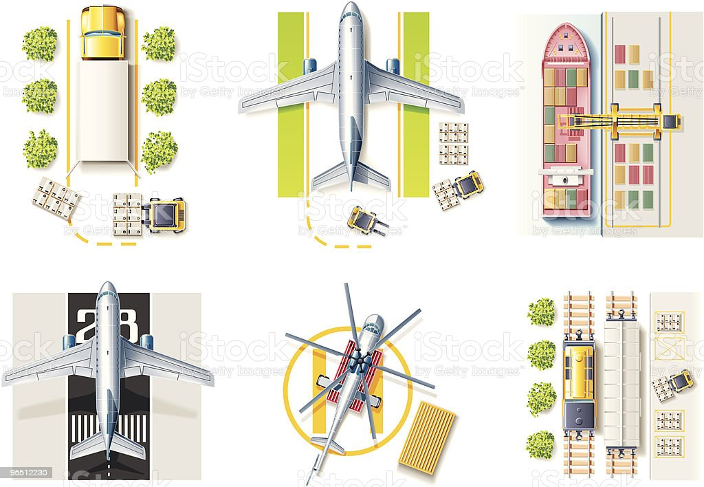 Vector freight transportation and logistic service icon set vector art illustration