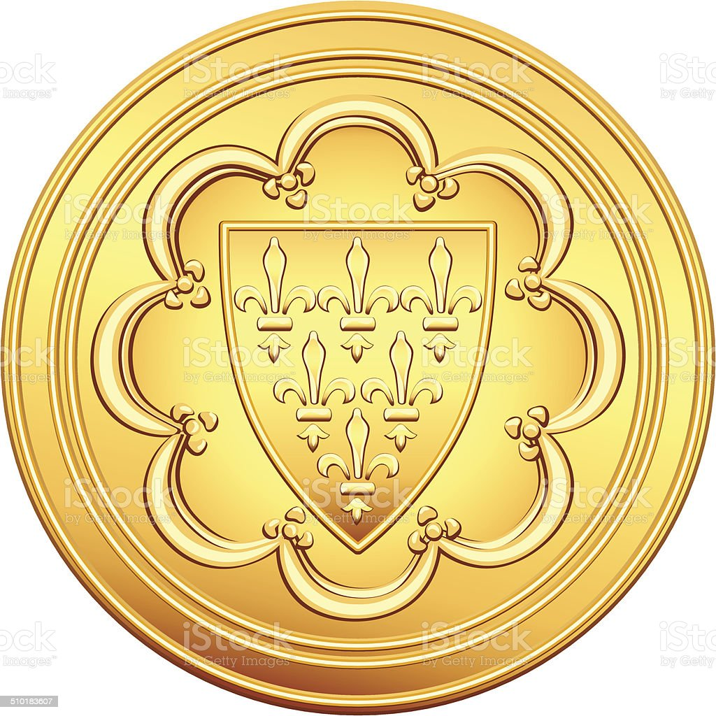 vector French money ecu gold coin vector art illustration